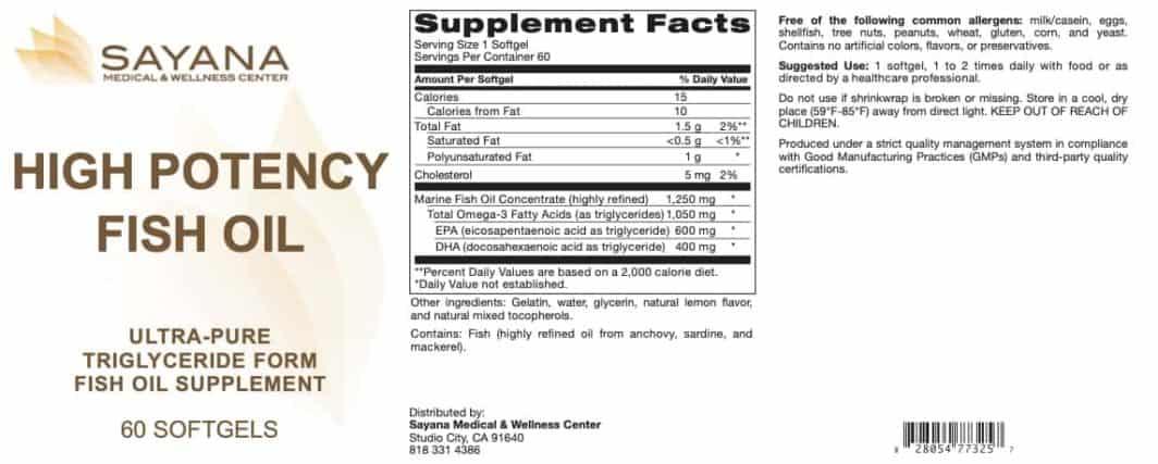 High Potency Fish Oil 60 Softgels