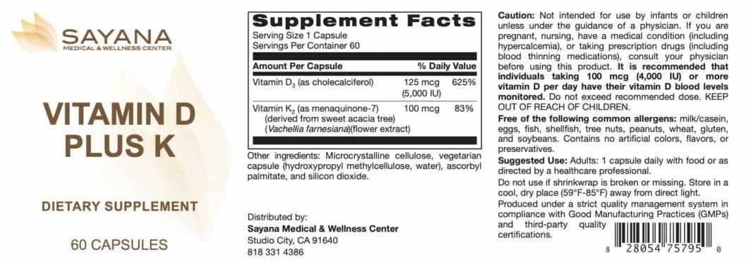 Vitamin D Plus K 60 Capsules